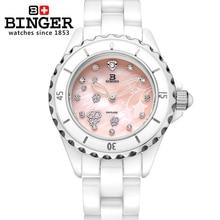 Switzerland Binger ceramic wristwatches Women's watches fashion quartz clock Round rhinestone watches Water Resistant BG-0412