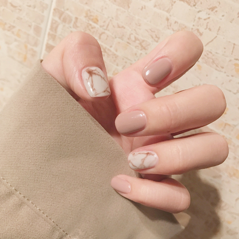 24Pcs Fashion Fake Nails Khaki White Pink Marble Square Artificial Nail Tips with Glue Sticker for Office Home Faux Ongle prescription drug