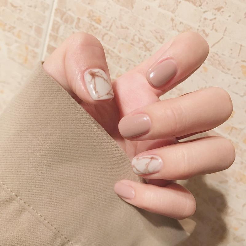 24Pcs Fashion Fake Nails Khaki White Pink Marble Square -1928