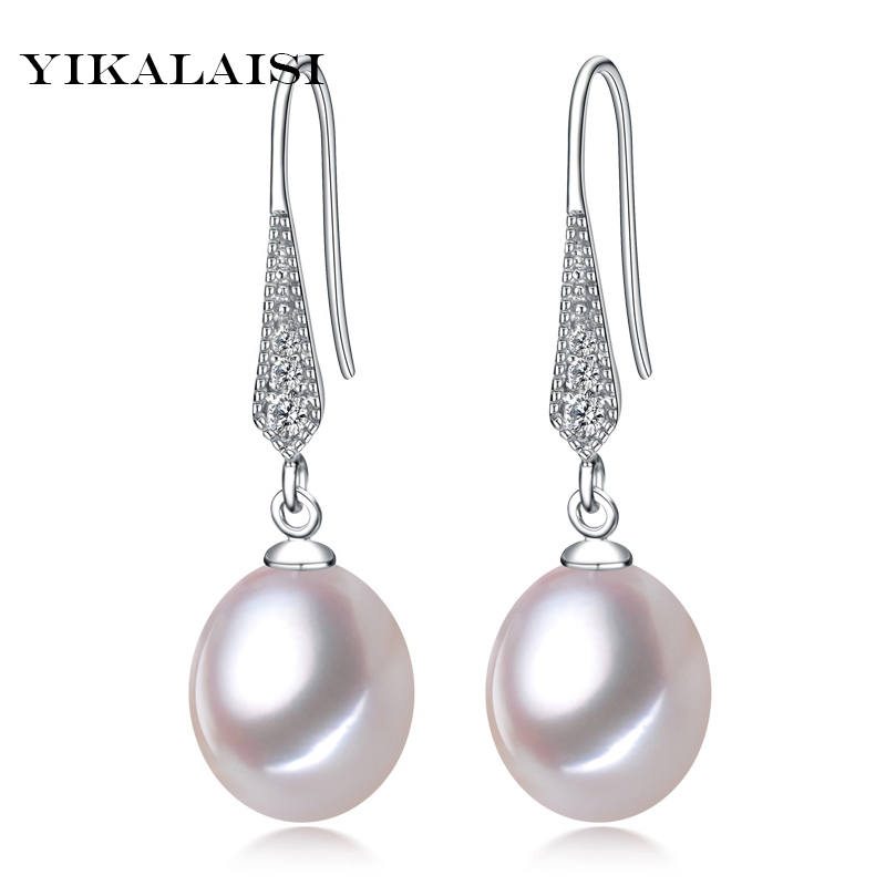 2017 new style 100% natural freshwater pearl stud earrings 8-9mm real pearl 925 sterling silver jewelry for women girls