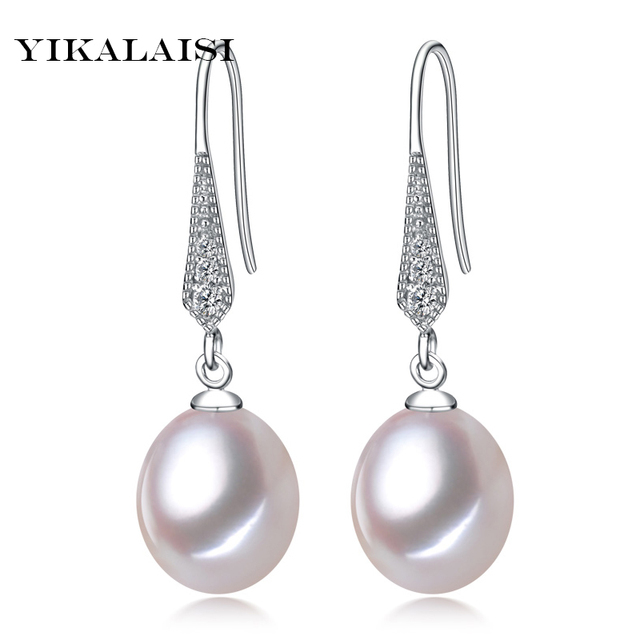 2017 new style 100% natural freshwater pearl stud earrings 8-9mm real pearl 925