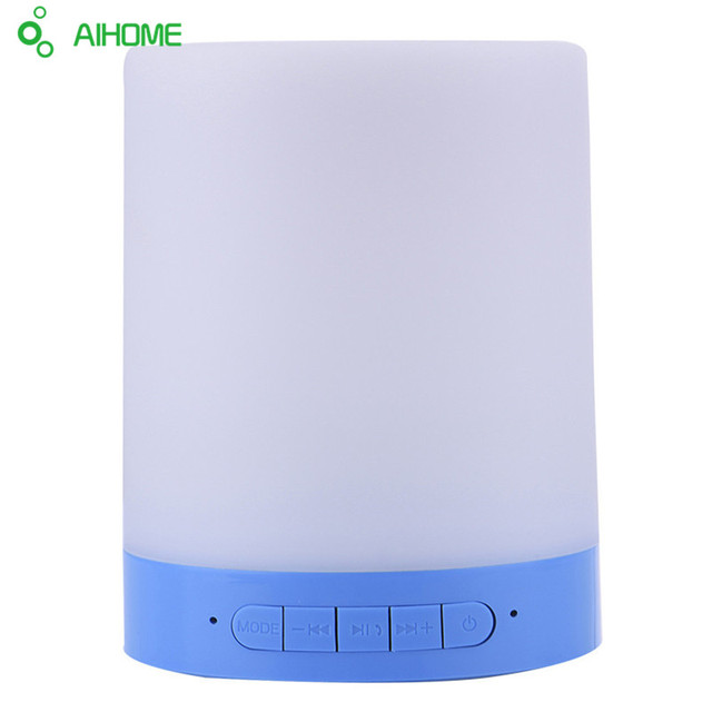 Colorful LED Night Light With Portable Bluetooth Speaker Touch Control Bedside Table Lamp With Hands-free Speakerphone Outdoor