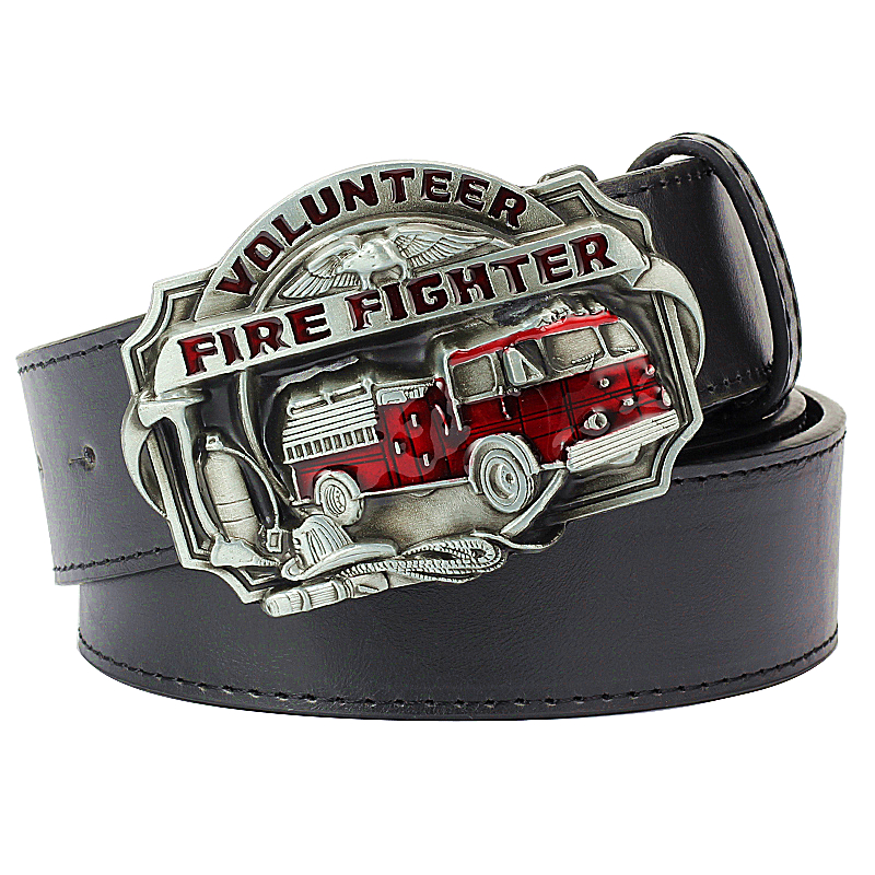 Cool Men's Belt Firefighter Profession Fire Truck Buckle Fire Dept Badge Fire Brigade Sign Firemen Belt Fire Fighter Volunteer