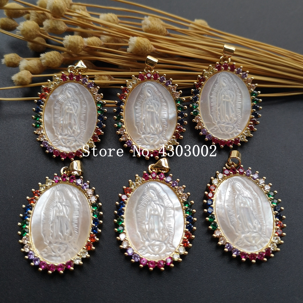 Image 4 - 10pcs/lot Micro Pave AAA CZ Natural Virgin of Guadalupe Mother of  Pearl Shell Pendant Guadalupe Pearl Shell MOP Charms for giftPendant  Necklaces