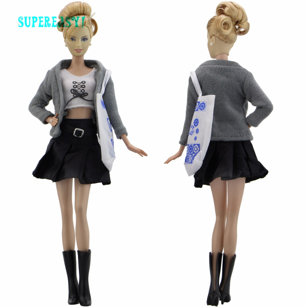 High Quality Outfit Long Sleeves Coat Blouse Daily Casual Wear Skirt Dress Handbag High Heels Shoes Clothes For Barbie Doll Gift the daily village perfect canada white skirt turquoise barely there tops wear hollywood miss picture universe panache bikini