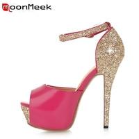 MoonMeek 2017 New Arrive Women High Heels Shoes Sexy Super High Women Pumps Fashion Peep Toe