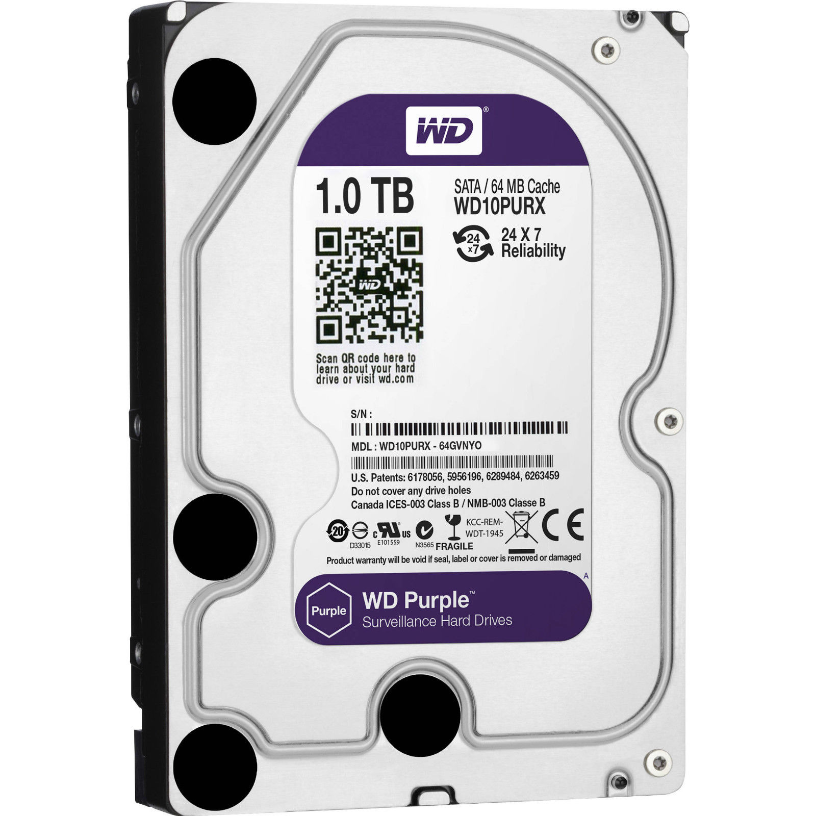 """1TB Western Digital WD Purple 3.5"""" HDD Surveillance SATA Hard Drive WD10PURX"""