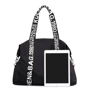Image 4 - 2020 New bag Woman Travel Bag Black Pink Sequined Shoulder Bag Women Ladies Weekend Portable Travel Waterproof big Bag