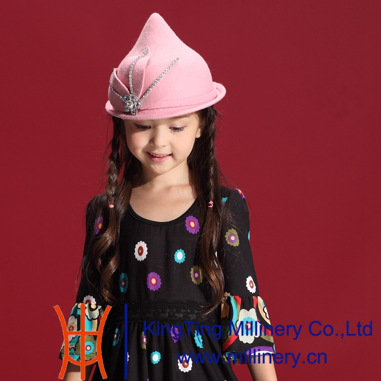 ФОТО Free Shipping Autumn and Winter Children  Hats Nifty Wool Felt Hat Natural 100% Wool with Pure Manual Set Auger Peaked Hat