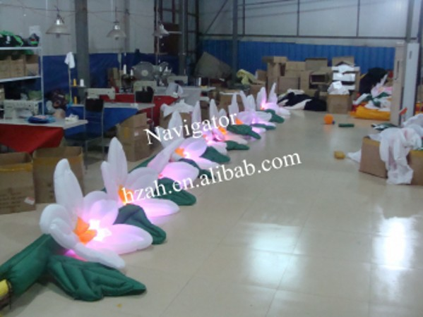 Artificial Self Inflatable Flower with LED Light party decor inflatable rose flower with light