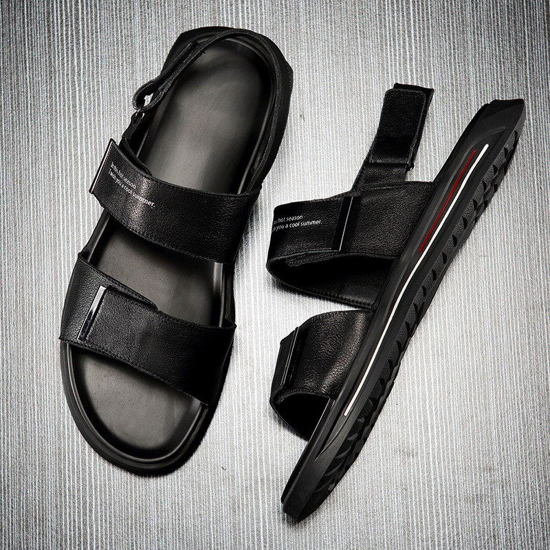 summer sandals Sneakers Men Slippers Flip Flops casual Shoes beach outdoor anti skid fashion Genuine Leather all match cowhide in Men 39 s Sandals from Shoes