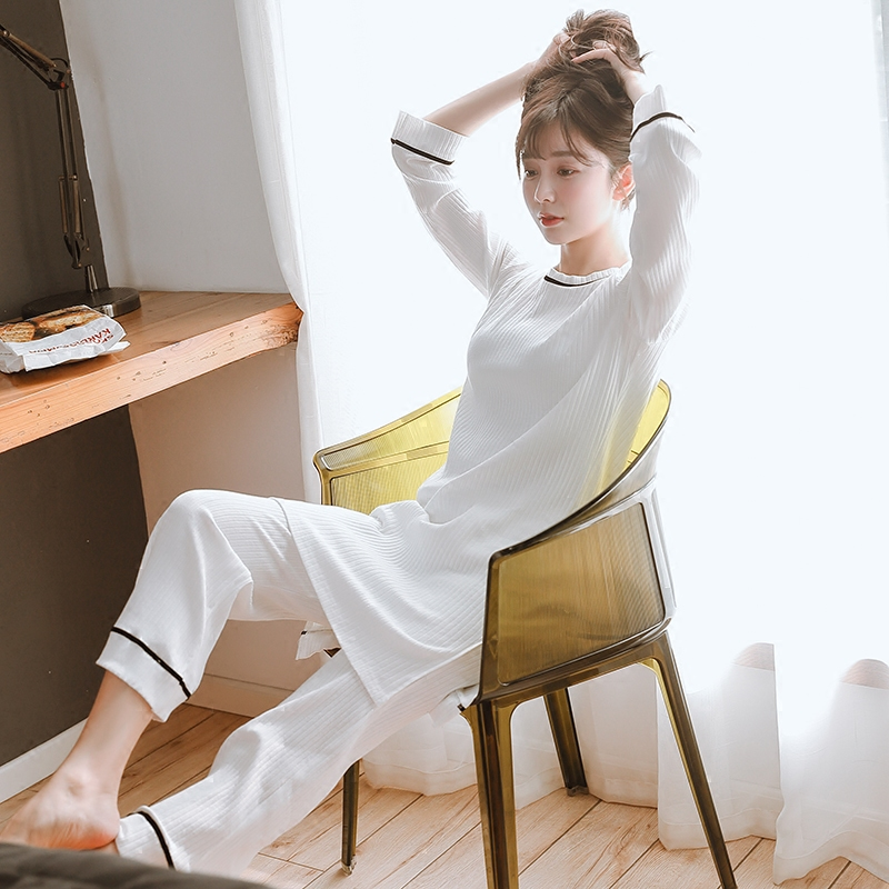 Pregnant women pajamas autumn and winter long sleeves cotton fashion white stripes pregnant women suit casual home clothing 2016 autumn winter women s casual fashion not as long as before and after long section side seam zipper bags seven snowflakes