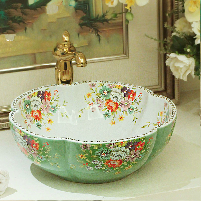 Porcelain wash basin bathroom vanity bathroom sink bowl countertop flower bathroom sink Ceramic wash basin