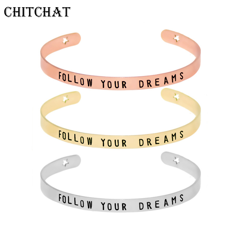 Carved Letters Inspiring FOLLOW YOUR DREAMS Bangles Nail Bracelets Stainless Steel Silver Color Cuff Bracelet Jewelry Unisex