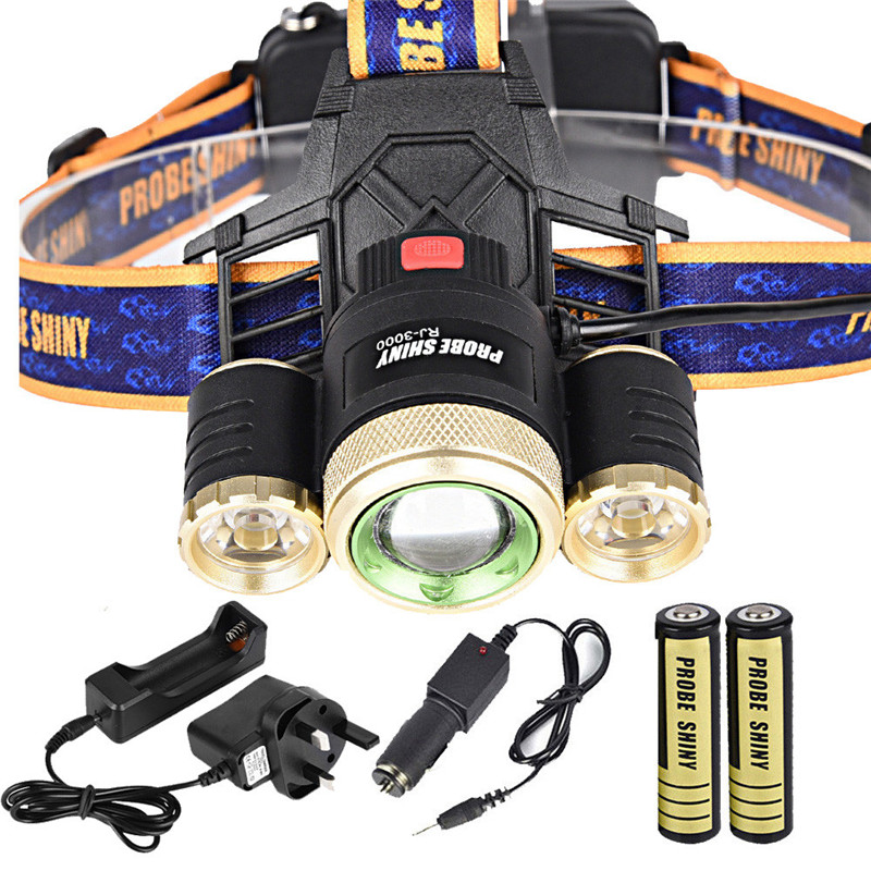 1Set Flashlights on a bicycle Cycling Bike Head Front Light Bicycle Light ZOOM 15000Lm Headlamp XM-L 3 x LED Headlig #2