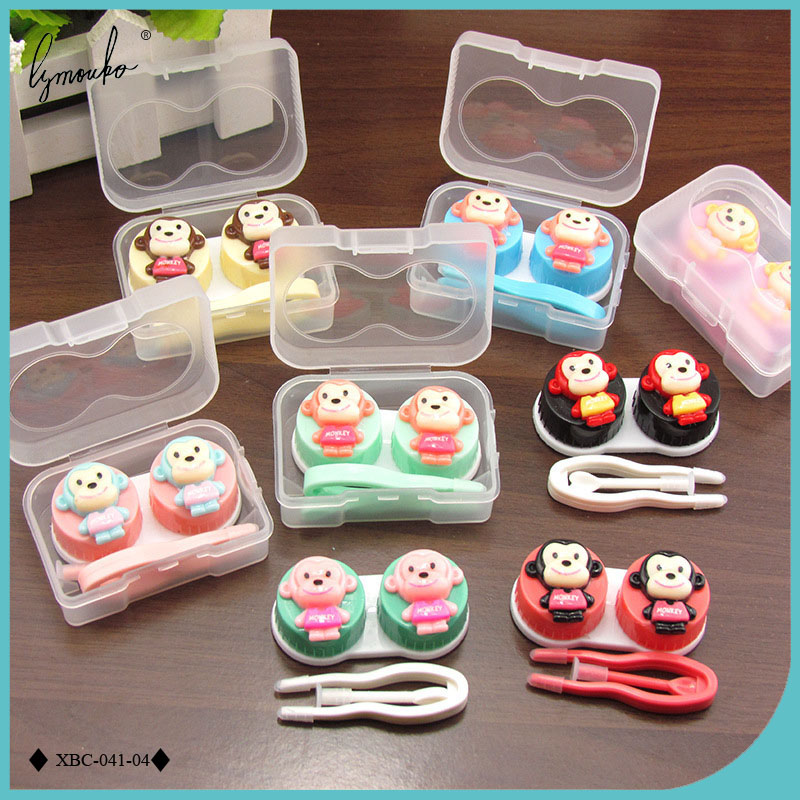 Lymouko Lovely Diverse Monkey Patterns Portable Contact Lens Case Kit Container Lenses Box for Women