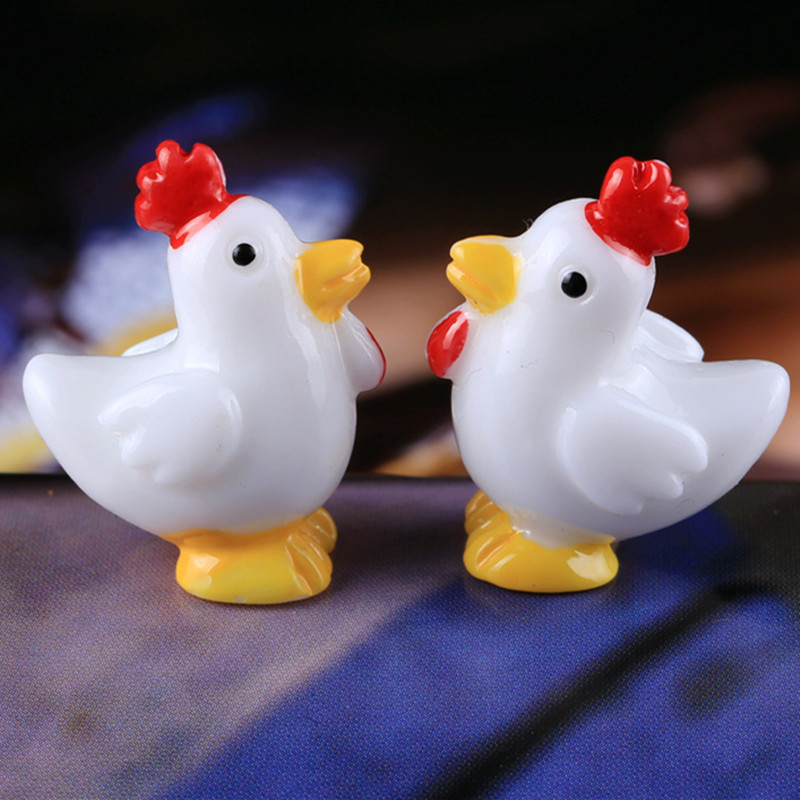 6Pcs/Set Kawaii Zakka Simulation White Cockerel Hen Rooster Chicken Doll Diy Gardening Ornament Home Decoration Accessories