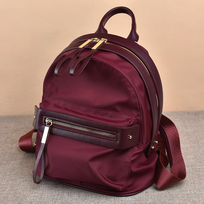 ФОТО New Korean Style Women Backpack High Quality Nylon With Leather Rucksack Solid Color Fashion Waterproof Shoulders Bag