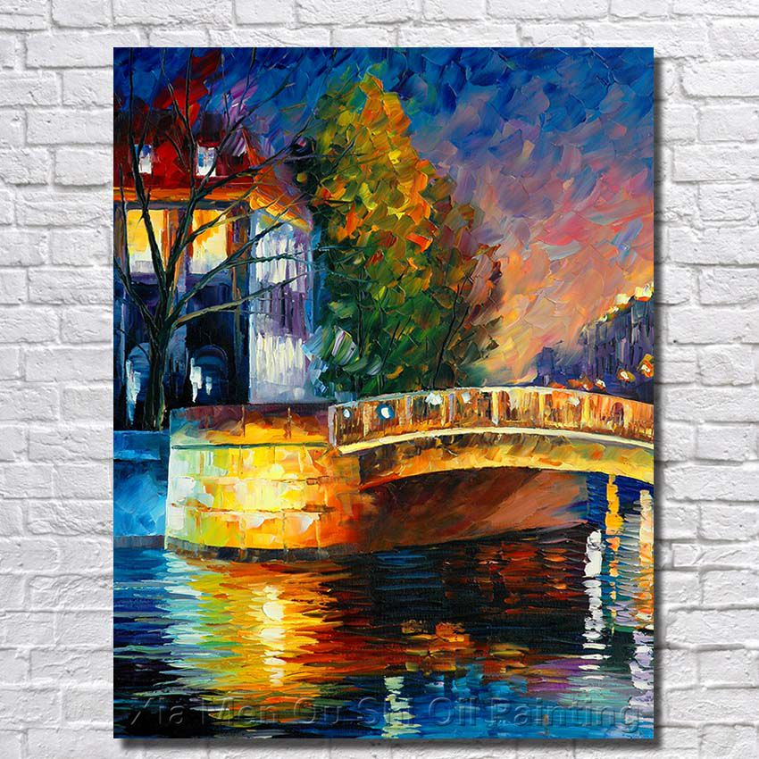 Free Shipping Canvas 100% Hand Painted River Landscape Palette Knife Oil Painting On Canvas For Living Room Decortion No Framed