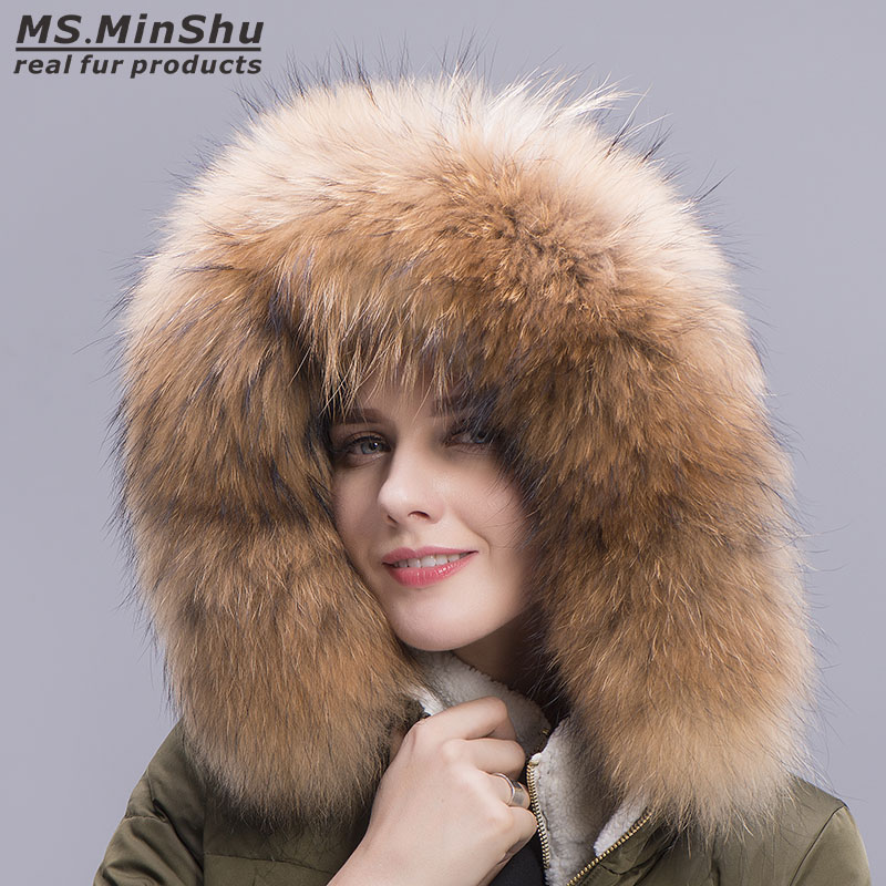MS.MinShu Big Raccoon Fur Collar Hood Trim Natural Raccoon Fur Hood Collar Down Coat Fur Collar Custom Made Big Fur Collar