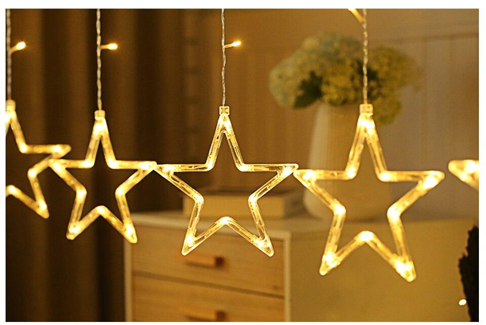 220V LED Holiday String New Year Pentagram Star Curtain Light Fairy Wedding Birthday Christmas Lighting Indoor Decoration Light (1)