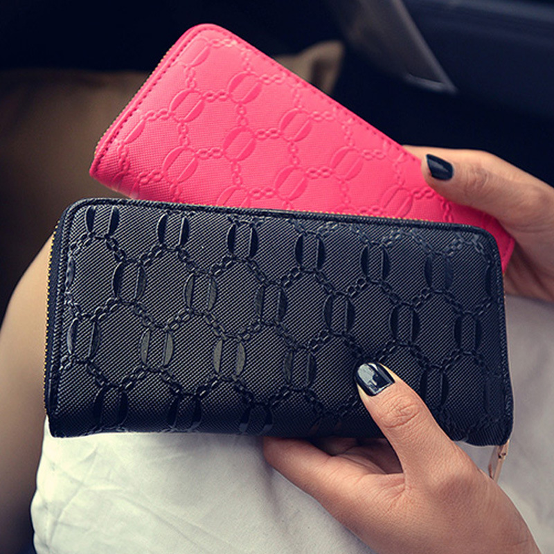все цены на  Free Shipping New 2017 Fashion Black Red Blue Beige Hot Pink Cheap PU Long Wallets Women Pures Wallet LD007  онлайн