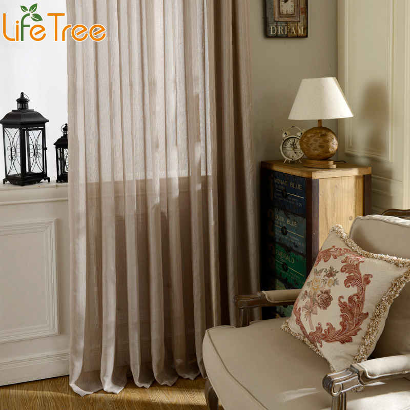 1PC Tulle Curtains For Living Room Solid Color Modern Sheer Voile Drapes  For Bedroom Kitchen Window Curtain Part 74