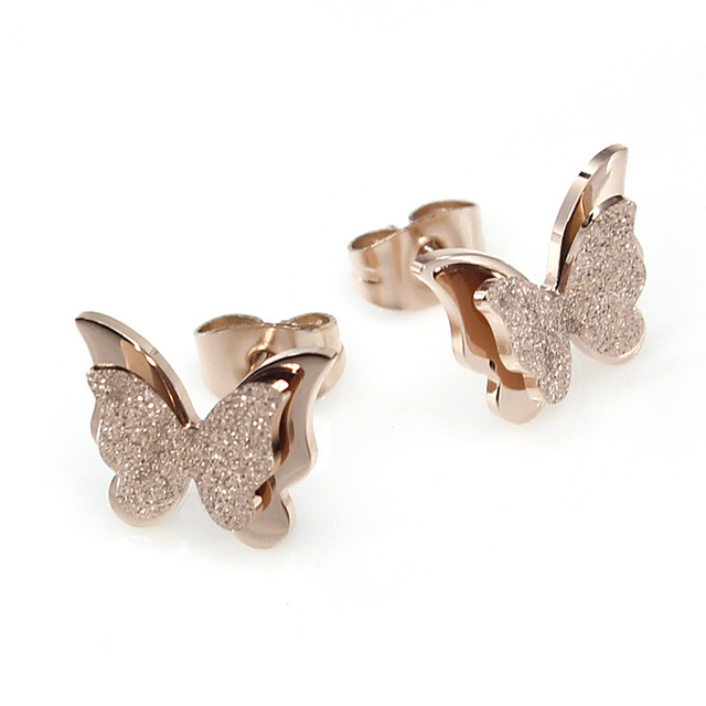 Exquisite Fashion Rose Women Earrings Frosted Erfly Channel Stud