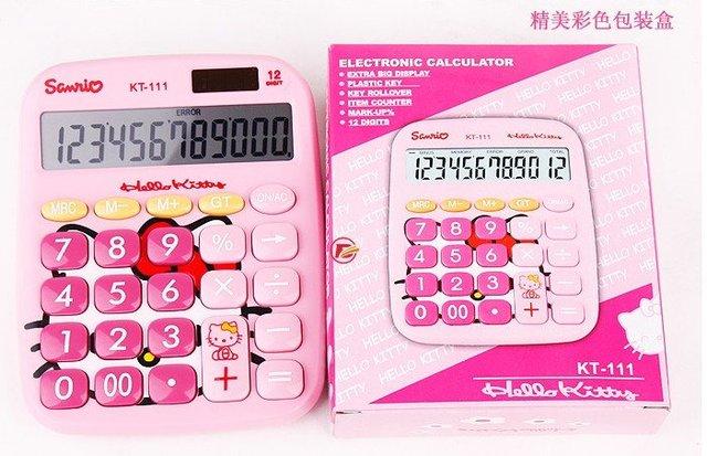 free shipping 10/lot back to school girl gift Hello Kitty pink princess  solar calculator computer large keys