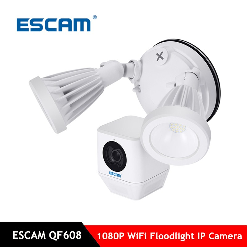 ESCAM QF608 1080P LED Floodlight WiFi IP Camera PIR Detection Alarm 2 way Audio Onvif IR Security Network Camera Support TF Card