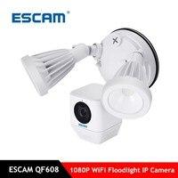 ESCAM QF608 1080 P светодиодный прожектор Wi Fi IP Камера обнаружения пассивного ИК датчика сигнализации 2 полосная аудио ONVIF ИК камера сетевой безопас