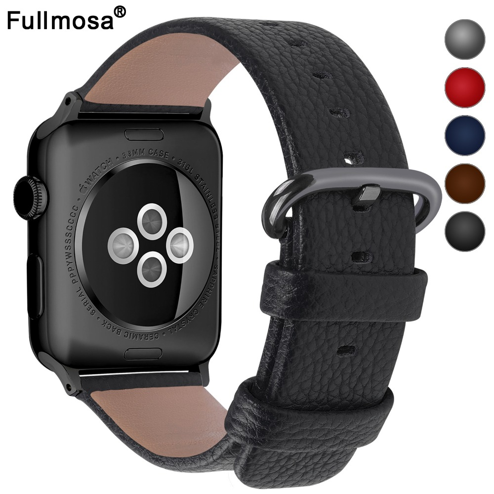 5 Colors Leather Strap Apple Watch Band with Stainless Clasp Watch Accessory Bracelet 38mm/42mm for Apple Watch Series 3&2&1 42mm 38mm for apple watch s3 series 3