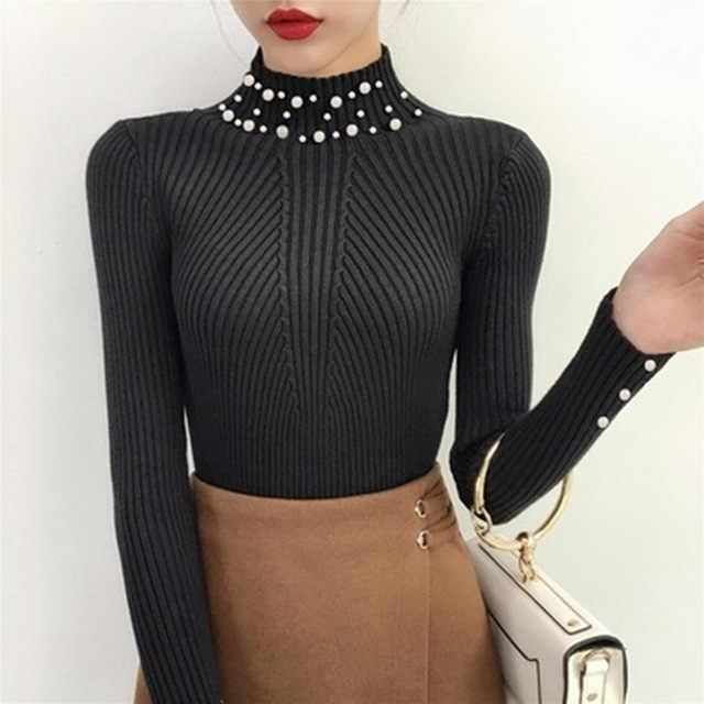 Musim Gugur dan Musim Dingin Pearl Beaded Sweater dan Pullover 2019 Baru Wanita Lengan Panjang Sweater Slim O-Leher Top