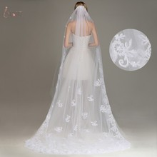One Layer Lace Edge White Ivory Cathedral Wedding Veil Long Bridal Voile Cheap Wedding Accessories Veu de Noiva