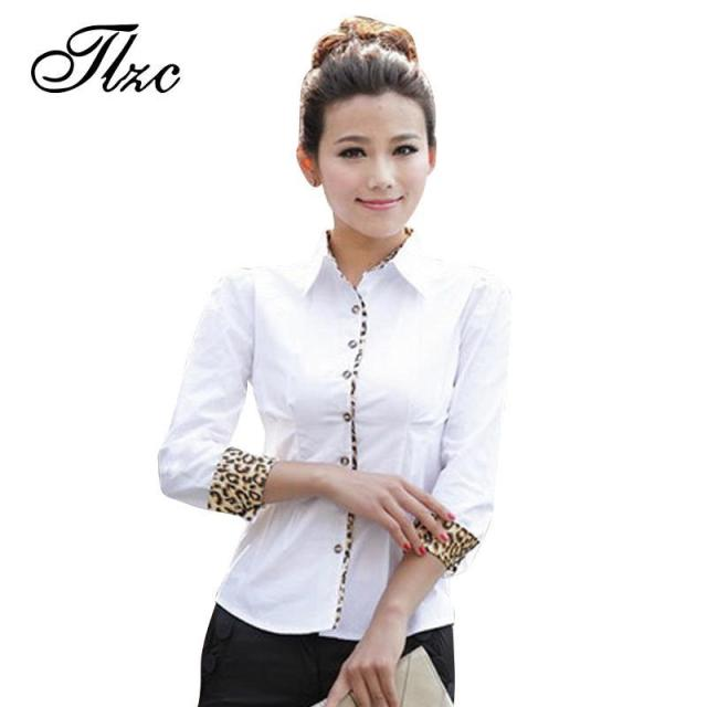 TLZC Charm Office Formal Clothes 2016 Leopard Slim Women White Shirts Size S-2XL New Sweet Lady OL Fashion Blouses
