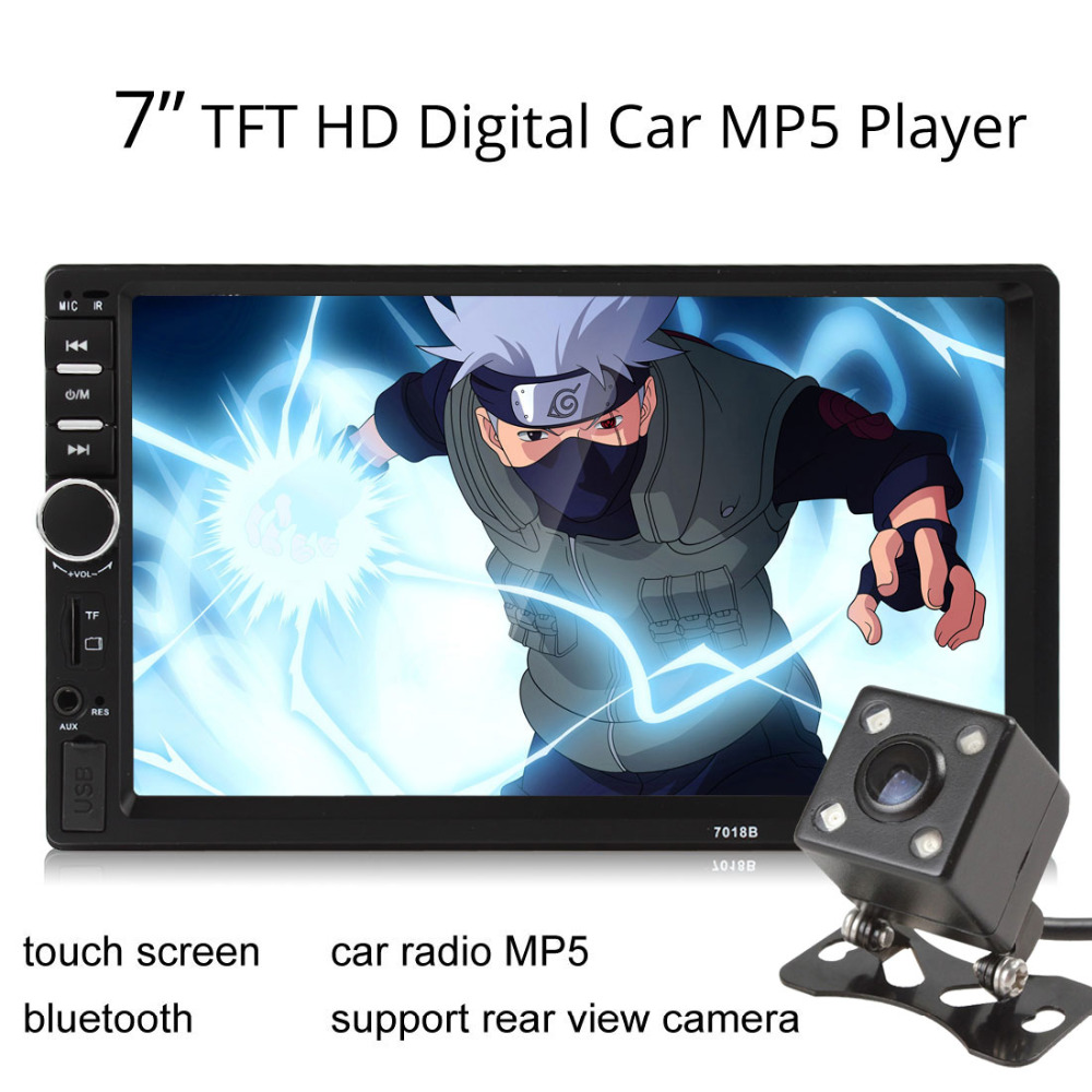 7 Inch 2 DIN Bluetooth handsfree Car Stereo Radio MP3 MP5 Audio Video Player In Dash Touch Screen USB + Auto Rear View Camera 7 touch screen car mp5 player 2 din bluetooth 1080p fm usb gps navigation with rear view camera remote control up to 32g