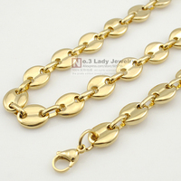 18K Gold Plated Stainless Steel Flat Bead Chain Necklace For Men Hip Hop Jewelry 2015 Wholesale