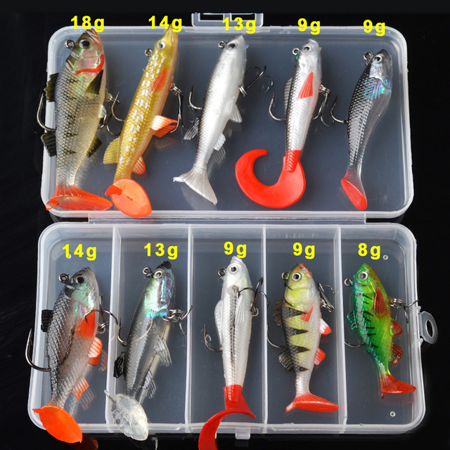 TOMA Soft Lure Kit set 18g 14g 13g 9g 8g Wobblers Artificial Bait Silicone Fishing Lures Sea Bass Carp Fishing Lead Fish Jig 3