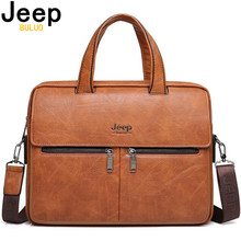 """JEEP BULUO Famous Brand Men Bags Business Briefcase Bag Cow Split Leather High Quality Travel Bags For 14"""" Laptop A4 Male Bag"""