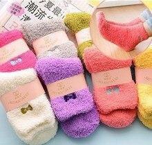12Pairs/Lot Winter thick warm women socks velvet sweet bow socks floor candy salad hair half of the velvet sleeping socks