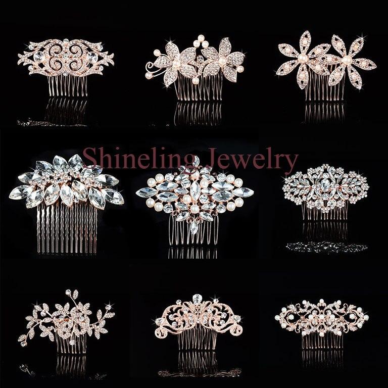 Elegant Art Deco Rose Gold Pearls Rhinestones Flower Wedding Hair Comb Crystal Bridal Hair Piece Hair