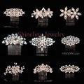 Elegante Art Deco Oro Rosa Perlas Piedras Flor Crystal Peine Nupcial Del pelo accesorios para el Cabello Pelo de La Boda Las Damas de Honor