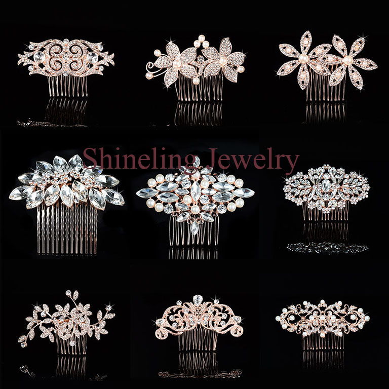 SLBRIDA Rose Gold Crystals Pearls Rhinestones Wedding Hair Comb Bridal Hair Pieces Hair accessories Bridesmaids Women Jewelry