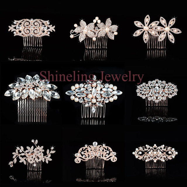 dd29988714fd SLBRIDA Rose Gold Crystals Pearls Rhinestones Wedding Hair Comb Bridal Hair  Pieces Hair accessories Bridesmaids Women Jewelry