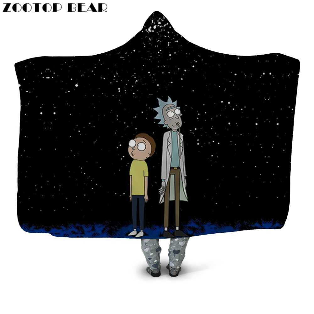 Hooded Blanket Rick and Morty for Adults Sherpa Fleece Wearable Black Galaxy Sky Boy Throw Blanket 150x200cm