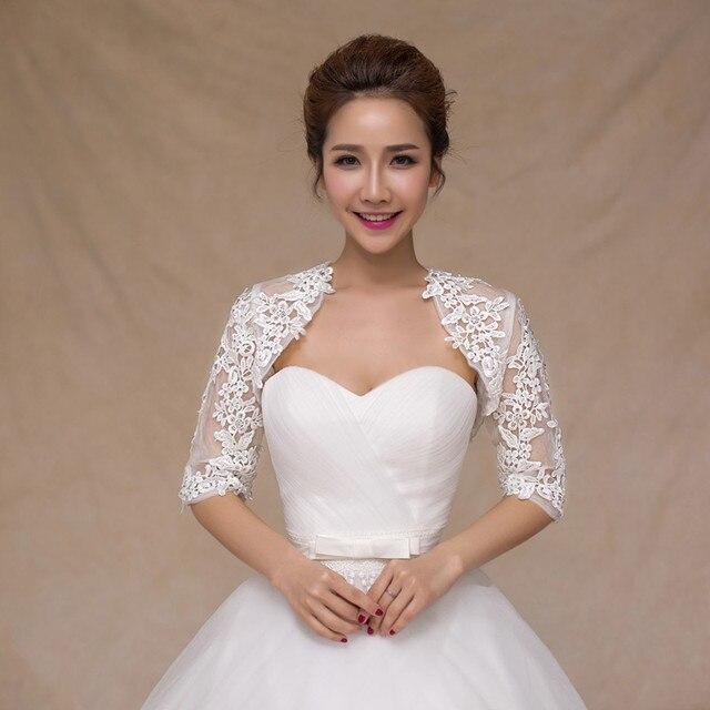 06ff242b050 Wedding Lace Bolero Half Sleeve Lace joker Coat Shawl Wedding Jackets  Bridal Wraps High Quality cape mariage tulle shrug