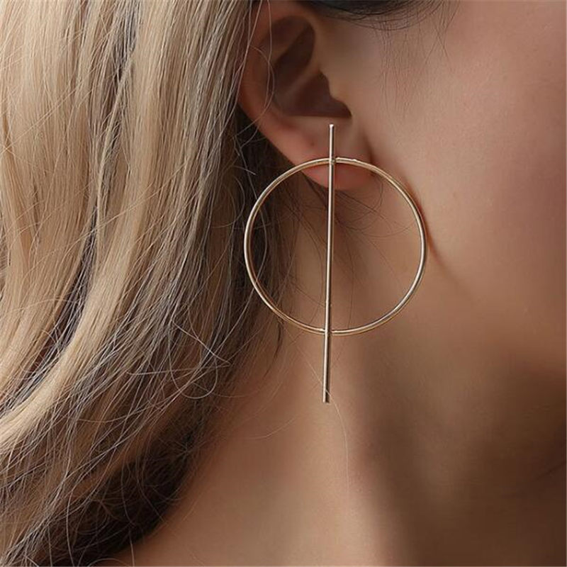 Простые модные геометрические большие круглые серьги золотого цвета с серебряным покрытием для женщин, модные большие полые висячие серьги, ювелирные изделия - Окраска металла: ez17jin