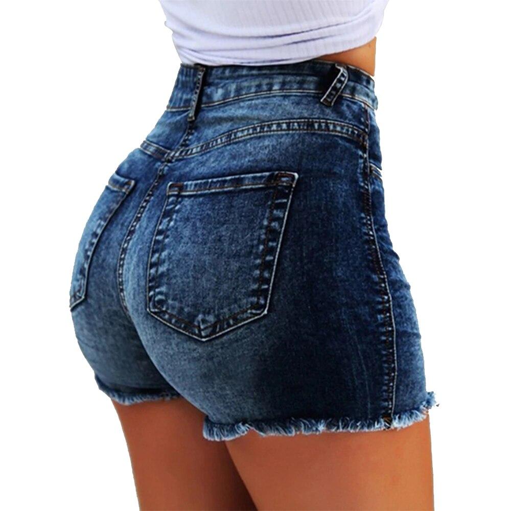 LASPERAL Fashion Women Summer High Waisted Denim Shorts Jeans Women Short 2020 New Femme Push Up Skinny Slim Denim Shorts