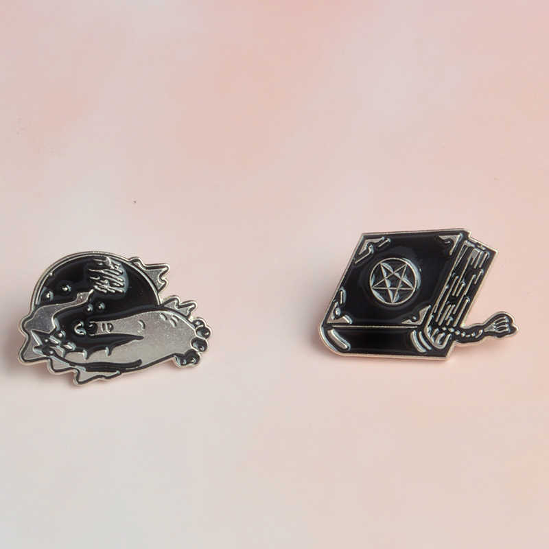 ca6a5c05246 Witch Book Magic Ball Enamel Brooches Denim Clothes Pins Shirt Button Badge  Punk Dark Gothic Jewelry