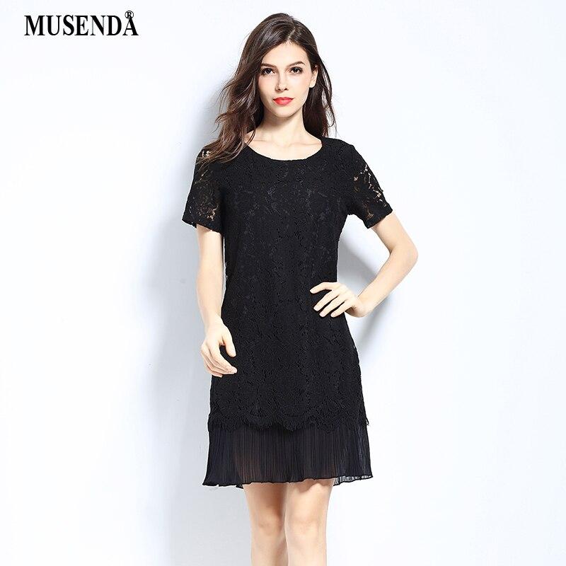 MUSENDA Plus Size Women Lace Chiffon Pleated Dress 2017 Summer Sundress  Lady Cute Fashion Brief Dress Party Office Street Dress-in Dresses from  Women s ... 553c0361c11e